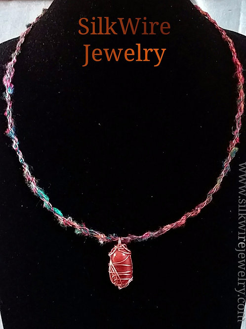 Carnelian Silk & Copper Multi-color Necklace