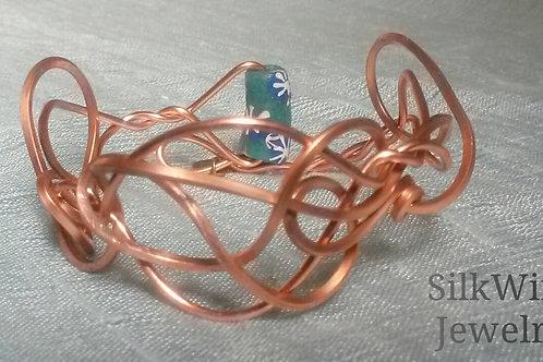 """""""Large Script"""" Adjustable Copper Bracelet"""