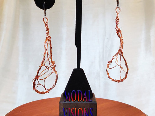Wavy Copper Earrings