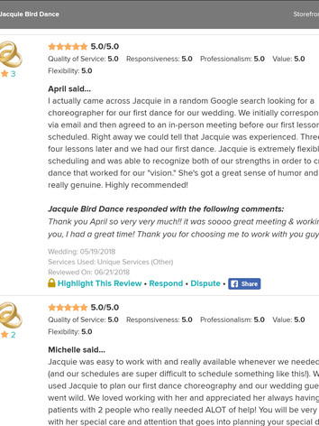 Wedding Dance Reviews of Jacquie Bird