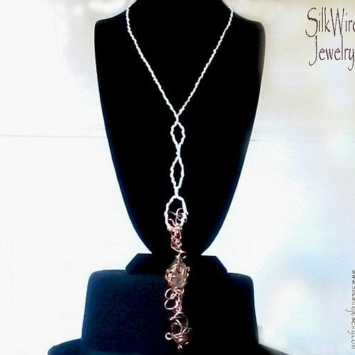 Smoky Quartz, Black Tourmaline Silk & Copper Necklace