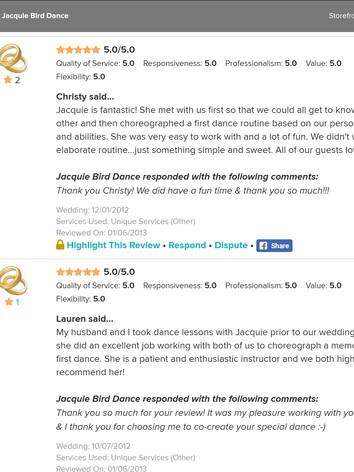 Wedding Dance Reviews of Jacquie Bird 7