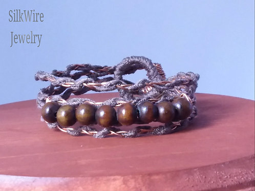 Mala Beads & Silk Adjustable Copper Bracelet