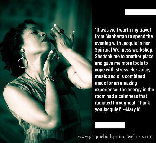Spiritual Wellness testimonial - stress reduction, stress relief workshop