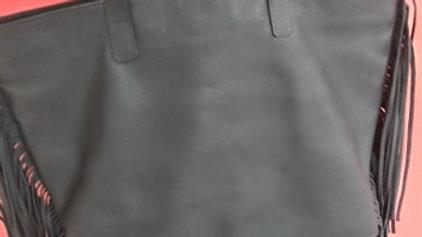 Large Leather Fringe Black Purse