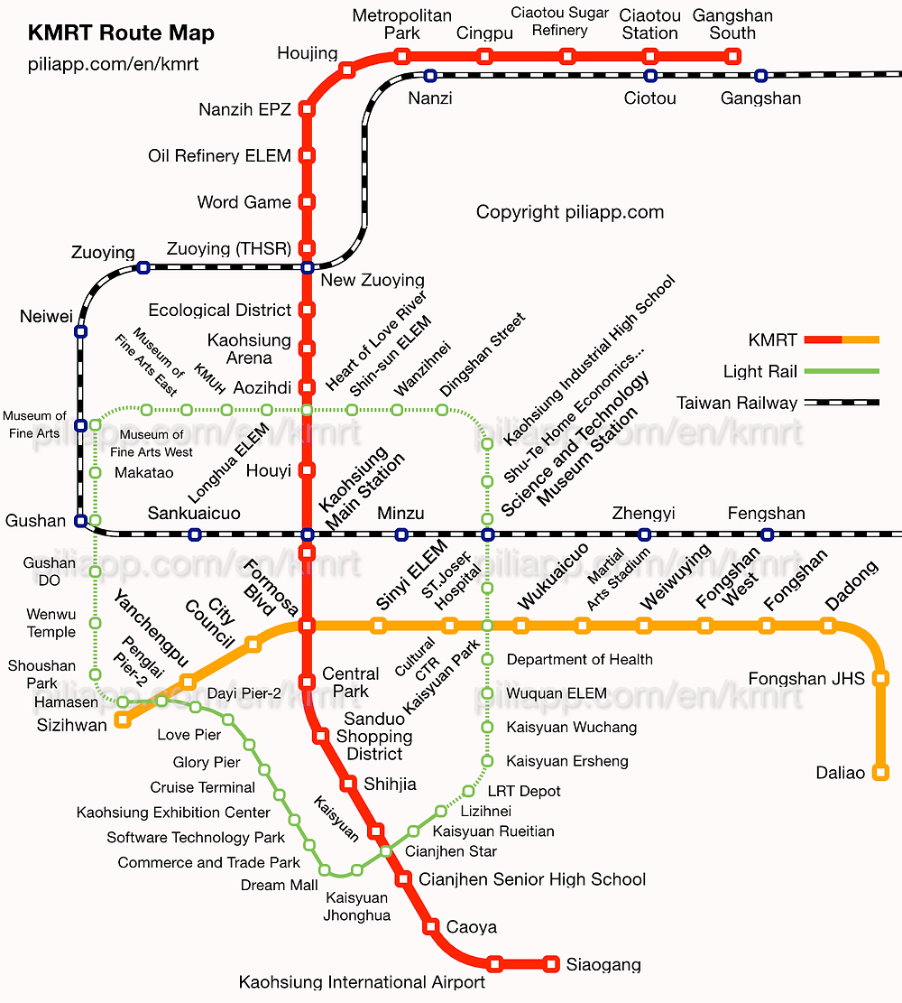 Kaohsiung Metro Line Map | On Airplane Mode
