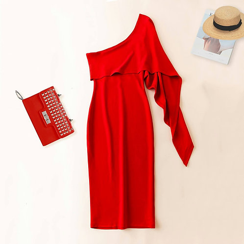 One Shoulder Midi Dress in Red