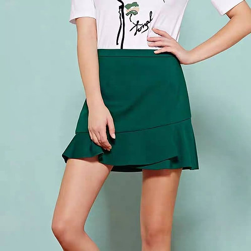 Ruffle Mini Skirt in Green