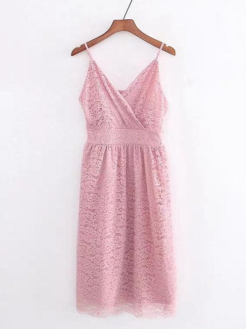 Strappy Lace Midi Dress