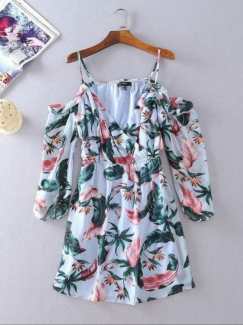 Floral Cold Shoulder Chiffon Dress