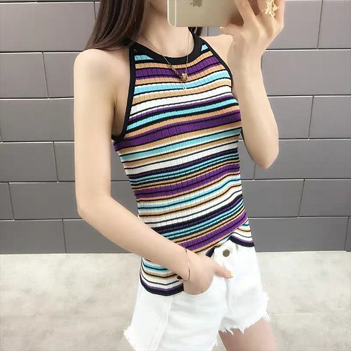Rainbow Knit Halter Top