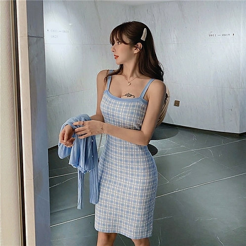 Checkered Knit Dress in Baby Blue