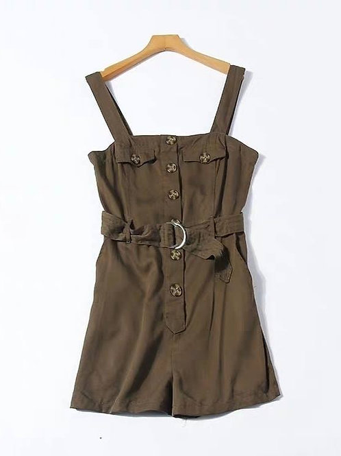 Button Down Romper with Belt