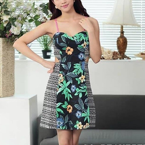 Padded Waist Cut Out Dress