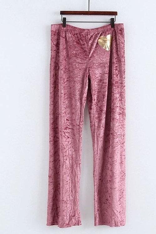 Velvet Trackpants in Pink