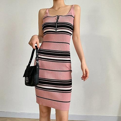 Zipper Knit Midi Dress in Pink