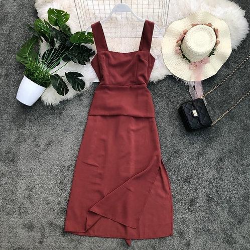 Square Neck Slit Midi Dress in Brown