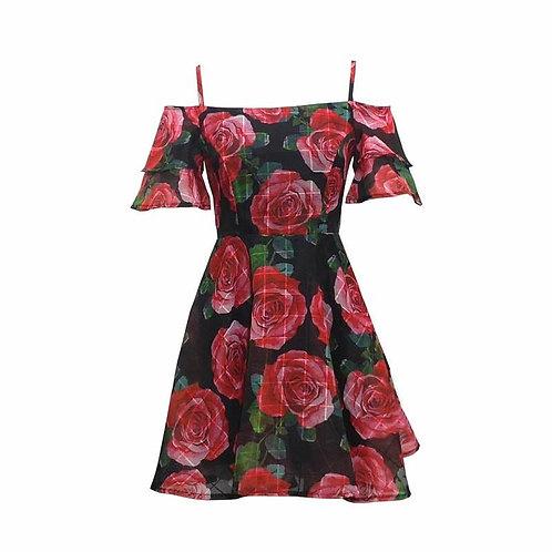 Back Zipper Floral Cold Shoulder Dress
