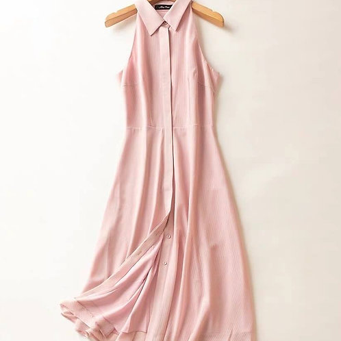 Blush Halter Button Down Midi Dress