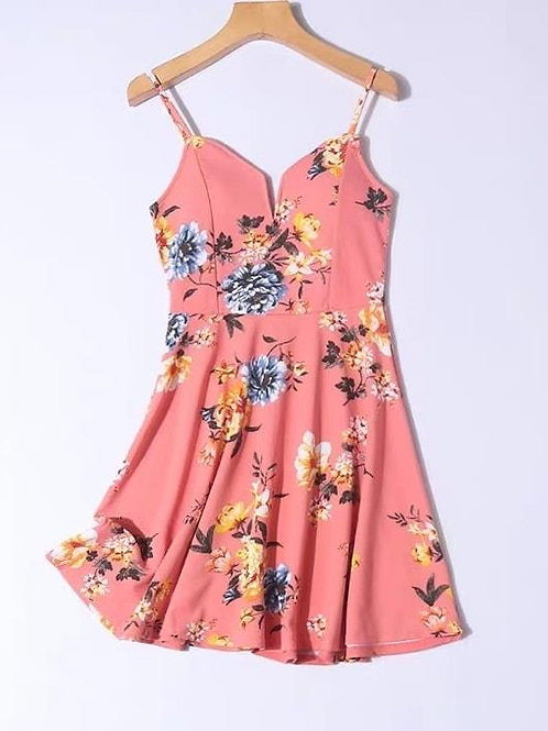 Padded Floral Dress in Peach