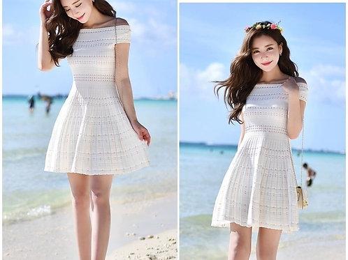 Off Shoulder Knit Dress in White