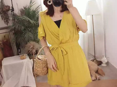Cold Shoulder Romper in Yellow