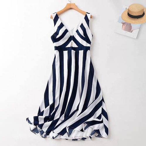 Back Cut Out Stripes Midi Dress