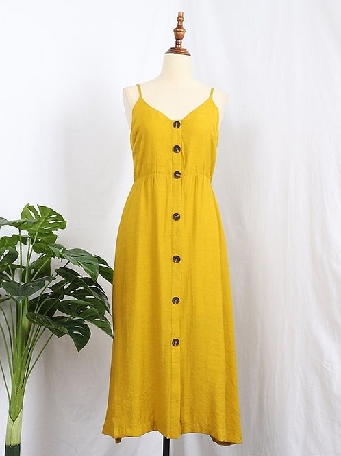 Tie Back Button Down Dress in Yellow
