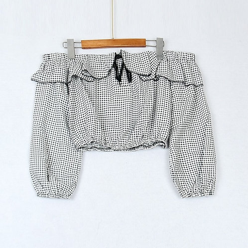 Checkered Ruffle Off Shoulder Crop Top