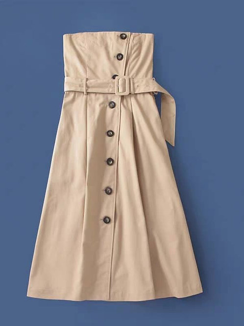 Tube Button Down Dress in Taupe