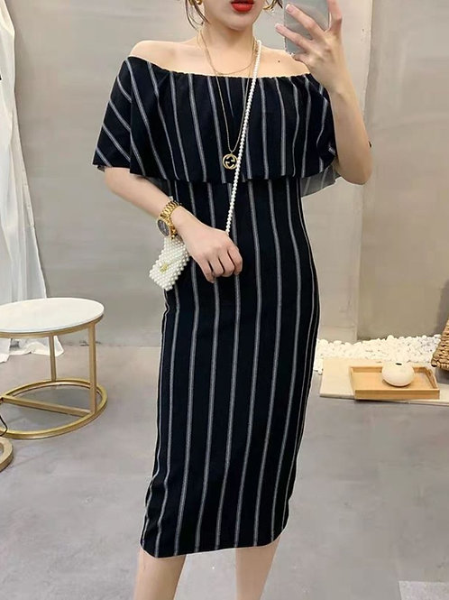 Stripes Off Shoulder Dress