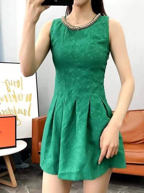 Sleeveless Dress with Beads