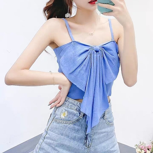 Knitted Bow Crop Top
