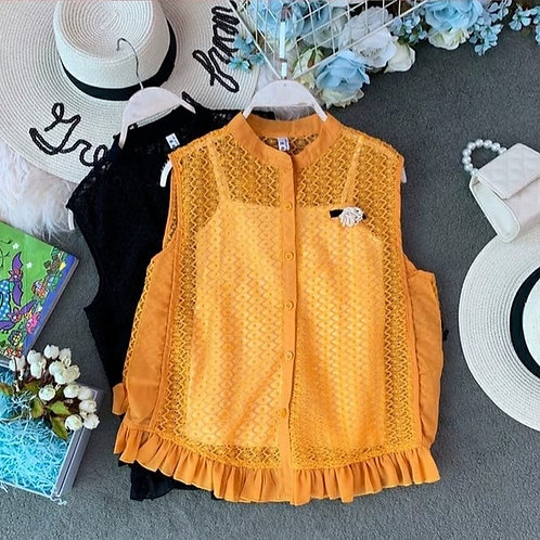 Inner Spaghetti with Lace Sleeveless Top in Yellow