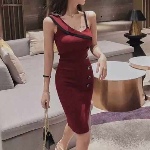 Maroon Side Button Knit Bodycon Dress