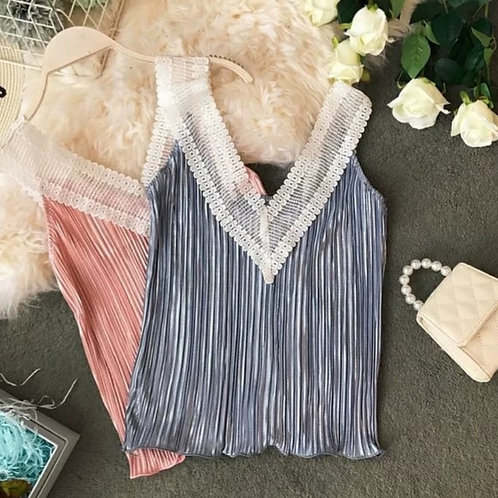 Lace Trimmed Pleated Top