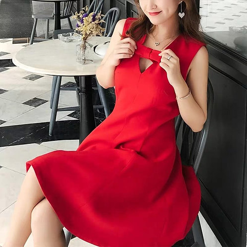 Back Cut Out Dress with Ribbon