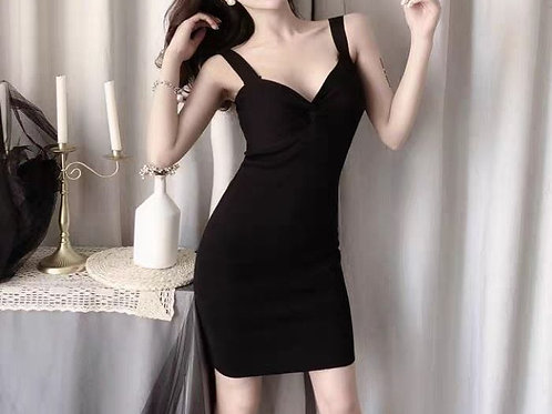 Padded Back Zipper Bodycon Dress in Black