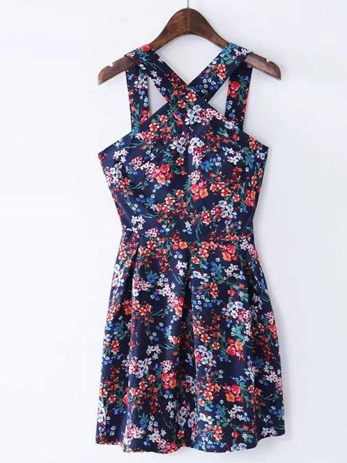 Cross Neck Floral Dress