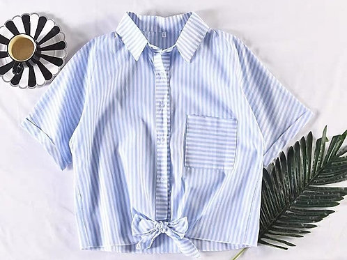 Stripes Tie Up Button Down Top