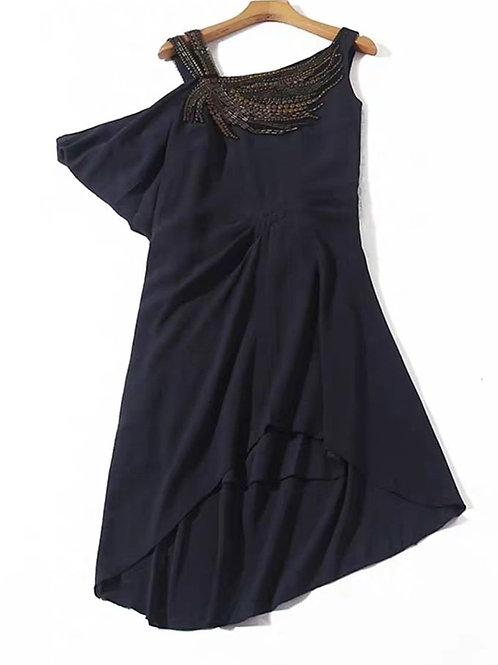 Asymmetric Flutter Sleeve Dress