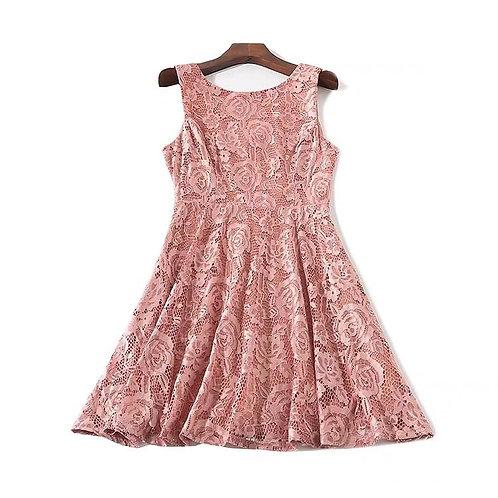 Sleeveless Lace Skater Dress