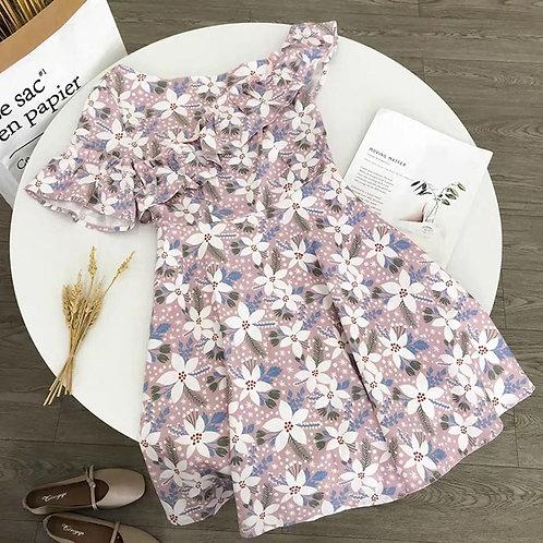 Floral Ruffle Off Shoulder Dress