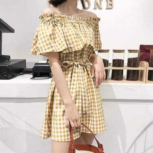 Checkered Off Shoulder Dress with Belt