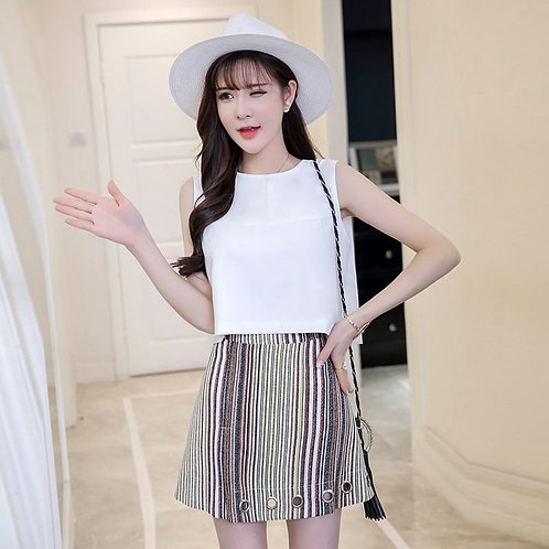 Sleeveless Tie Back Top with Skirt Set