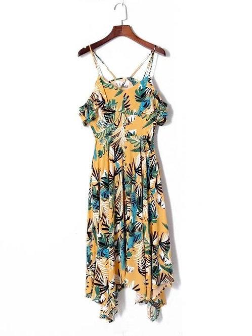 Tropical Asymmetrical Cold Shoulder Dress