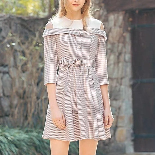 Lace Checkered Cold Shoulder Dress