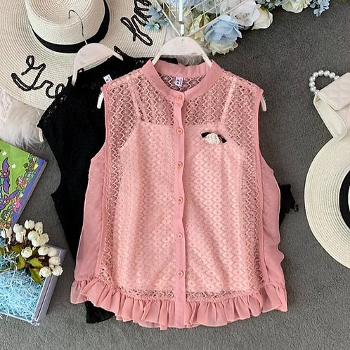 Inner Spaghetti with Lace Sleeveless Top in Pink