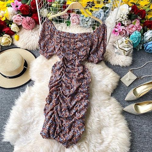 Puff Sleeve Floral Designed Dress