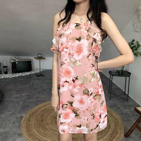 Floral Halter Ruffle Dress